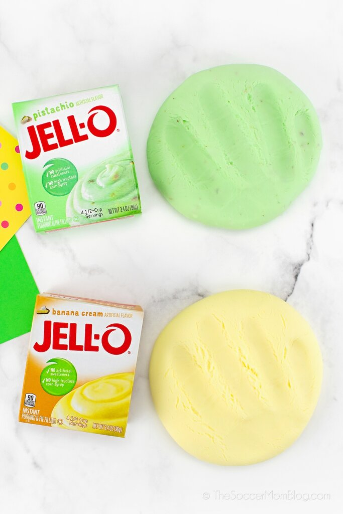 green and yellow pudding slime and jello