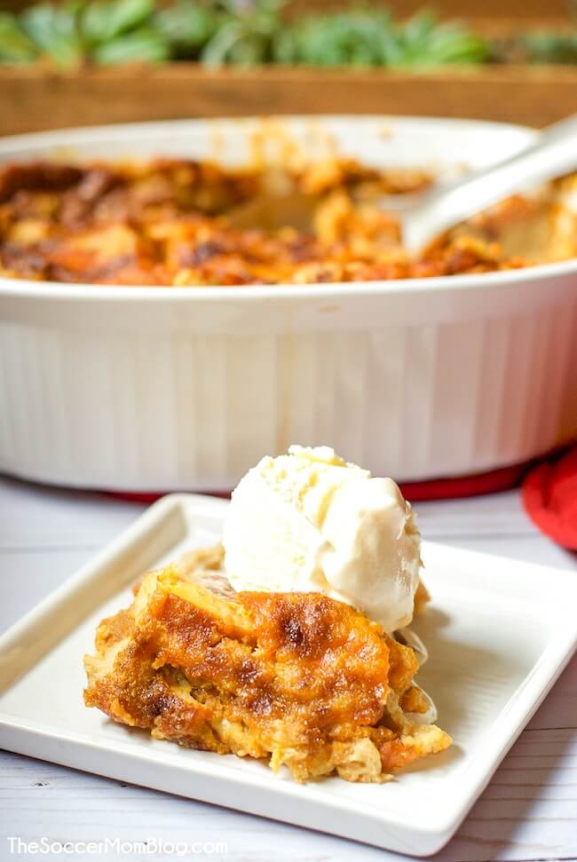 pumpkin bread pudding on plate