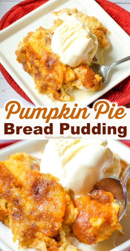 The BEST pumpkin bread pudding recipe ever!! SO rich and decadent and easy to make! Try this amazing pumpkin spice recipe for Thanksgiving or a fall treat!