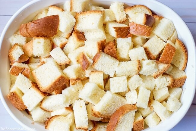 bread cubes in baking dish