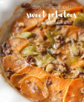 Scalloped Sweet Potatoes with Candied Pecans