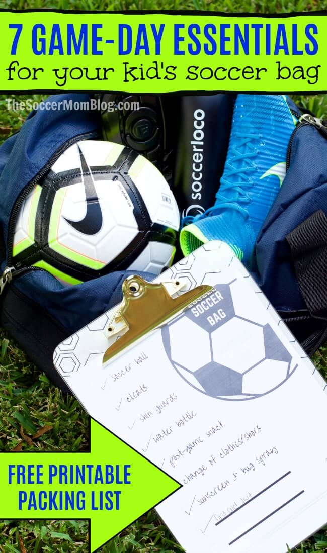 Everything you need to know about what to pack in your soccer bag on game day. What size soccer ball does your kid need, plus a free printable packing list.