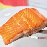 Pan seared salmon on spatula