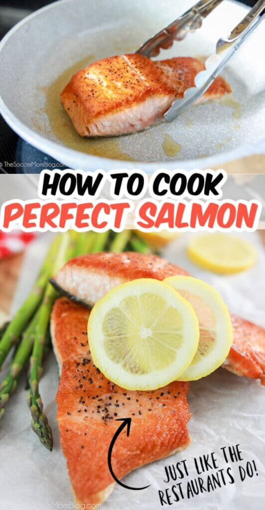 showing how to cook salmon in a pan