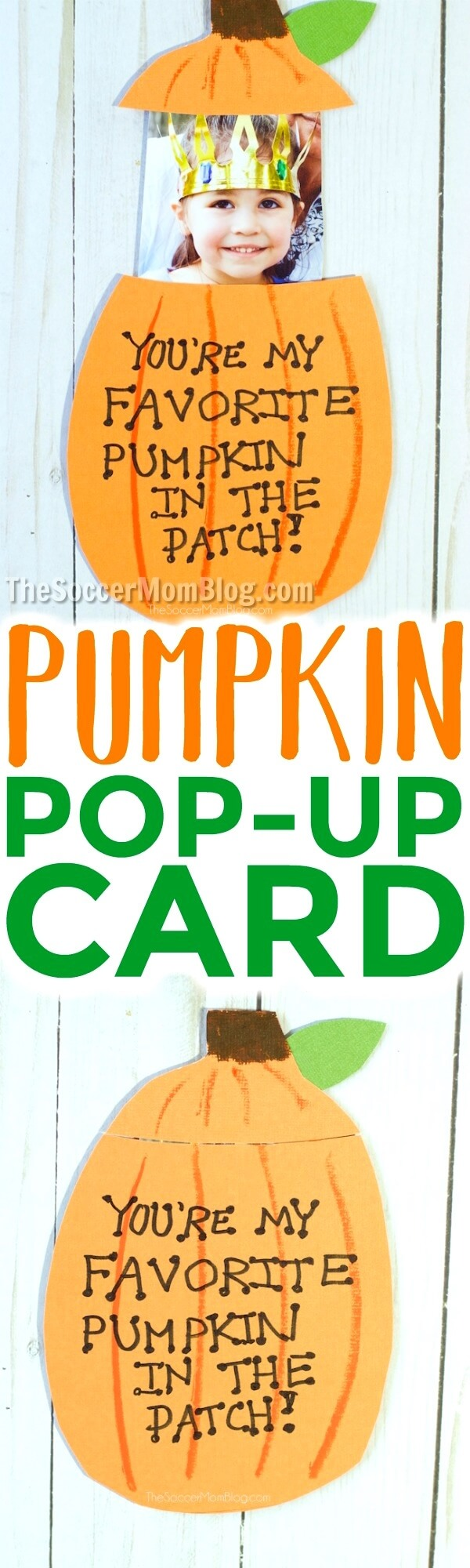 Super cute kid-made pop-up photo pumpkin card that's perfect for Fall holidays - Thanksgiving & Halloween. Free printable pattern!