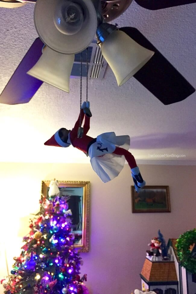 Elf on the Shelf on ceiling fan