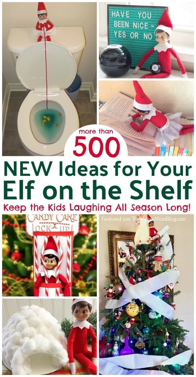 Get inspired with this awesome collection of over 500 super funny Elf on the Shelf ideas! You'll never run out of elf ideas with this BIG list of easy Elf on the Shelf hiding spots!