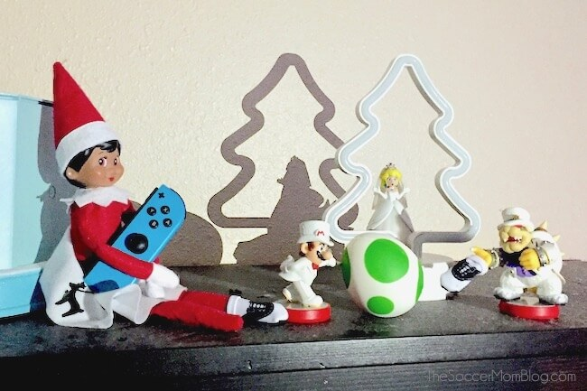 Elf on the shelf ideas: playing Super Mario Brothers