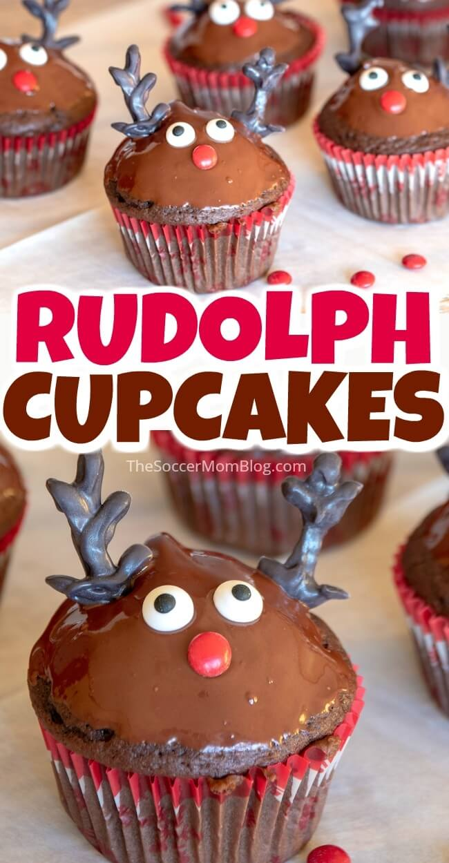 Rudolph the Red Nosed Reindeer Cupcakes are easy to make and will be the star of this year's Christmas party! So cute!!
