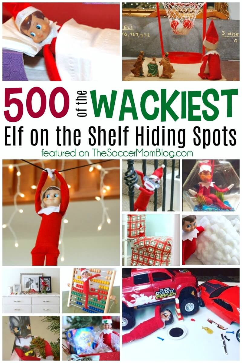 Whether you're looking for inspiration, or just a laugh, this is an awesome collection of over 500 bizarre Elf on the Shelf hiding spots! (safe to look at with the kids!)
