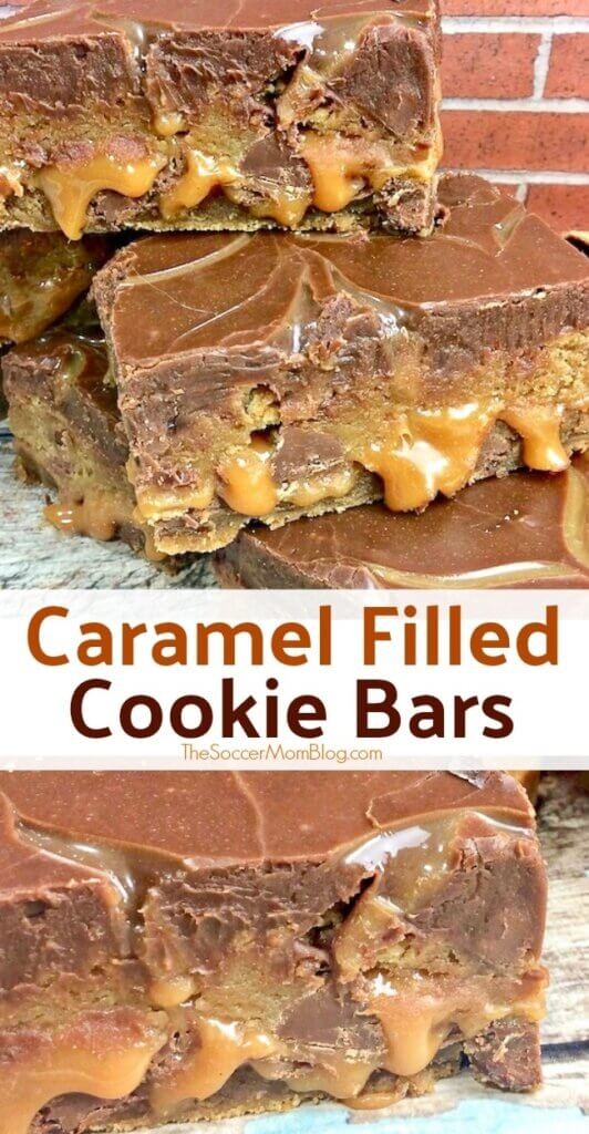 Cookie...caramel...more cookie...topped with rich chocolate ganache - these Salted Caramel Chocolate Chip Cookie Bars are out of this world!