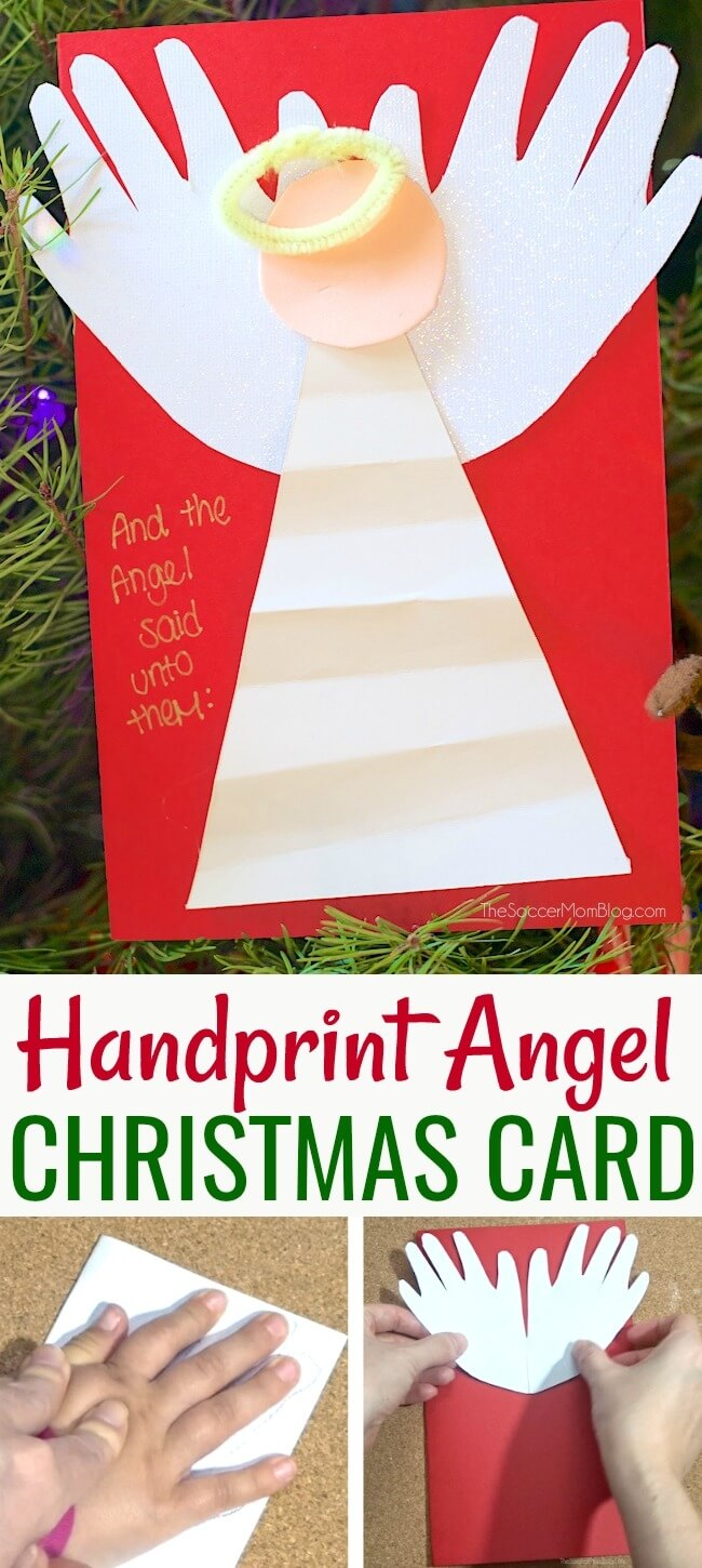 This handprint angel makes an adorable keepsake Christmas card that kids can make themselves! Click for video tutorial!