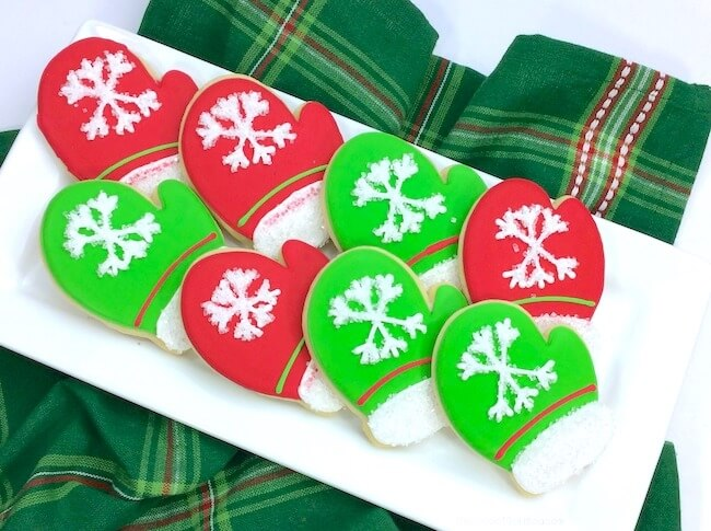 Christmas Mittens Sugar Cookies