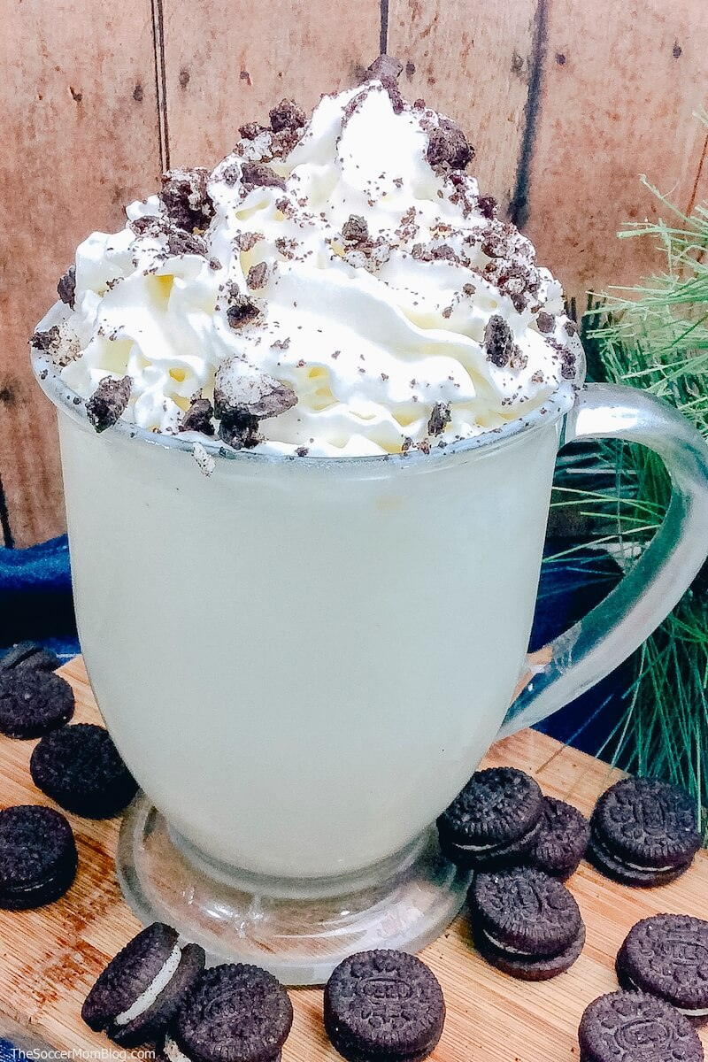 white hot chocolate topped with crushed oreos