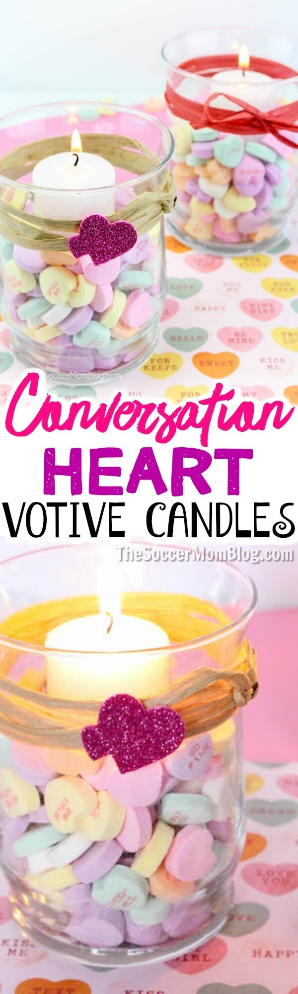 These easy Conversation Heart Votives are a cute homemade Valentine's Day gift, or a unique way to add a festive touch to your home. #valentinesday #crafts #kidscrafts
