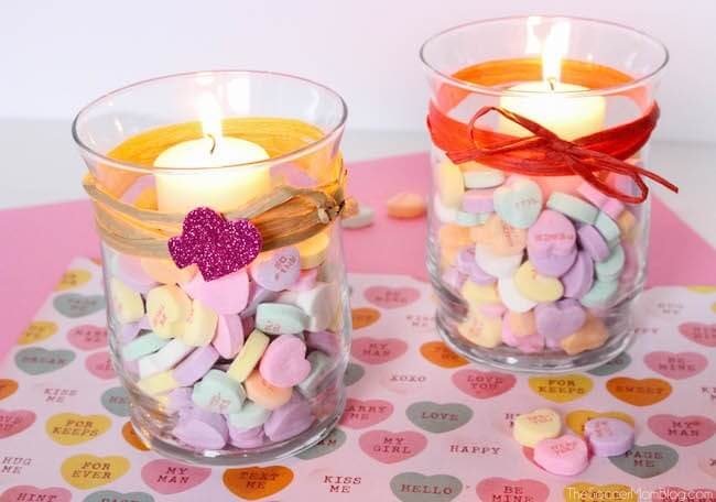 These easy Conversation Heart Votives are a cute homemade Valentine's Day gift, or a unique way to add a festive touch to your home.