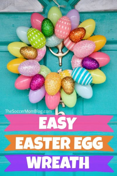 A quick & easy Easter Egg Wreaththat anyone can make! Add a festive touch to your front doors in minutes with two different versions of thisEaster craft.