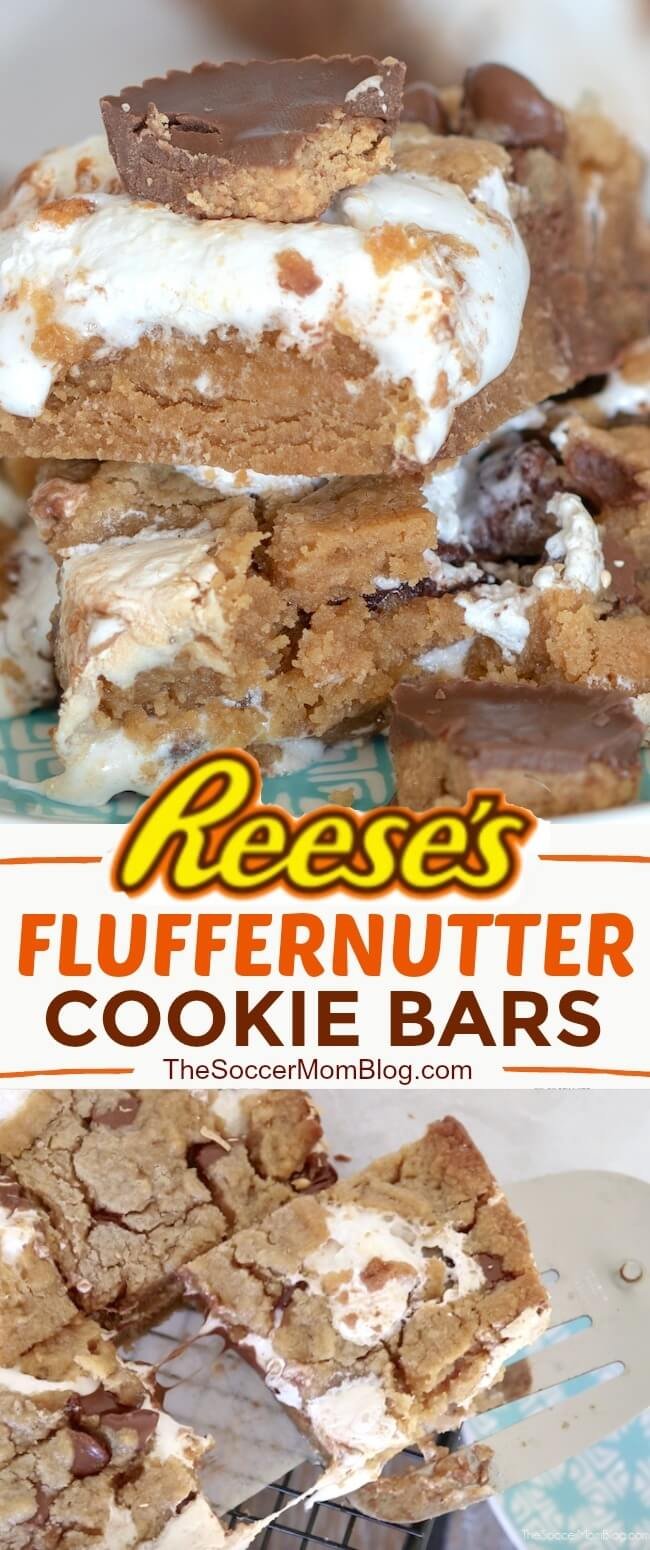 Just WOW!! An irresistible combination of peanut butter, chocolate, and creamy marshmallow fluff — Reese's Fluffernutter Bars take the ooey-gooey dessert game to the next level!