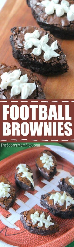 Perfect for your Super Bowl party or tailgate! These football brownies are a hit with football fans of all ages, and they're super easy to make! #football #superbowl #brownies