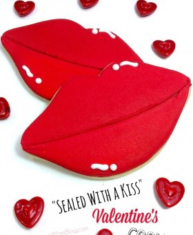 """Sealed with a Kiss"" Red Lips Decorated Valentines Cookies"
