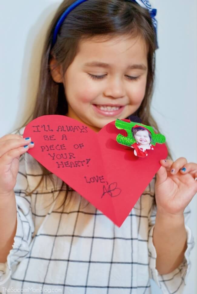 Puzzle Piece Photo Pop-Up Kids Valentine's Day Card