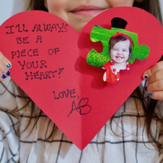 Kids - they'll always have a piece of your heart! Learn how to make this adorable puzzle piecekid Valentine card craftthat loved ones will treasure always!