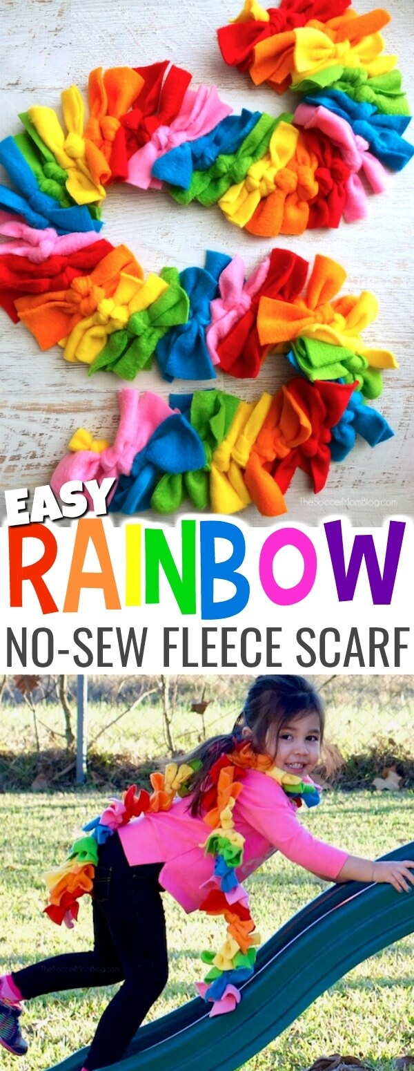 """Rainbow Dash"" Easy No Sew Fleece Scarf (Photo Tutorial)"
