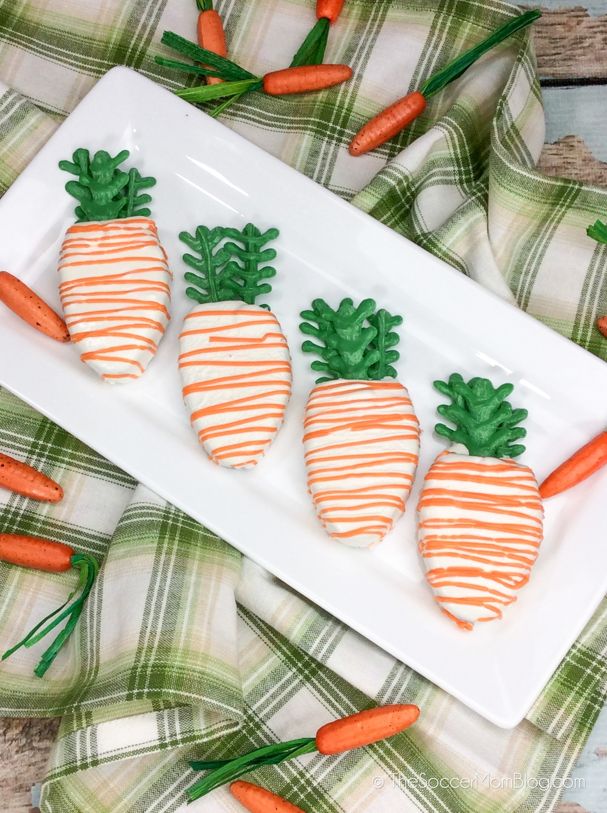 carrot-shaped cakes on plate