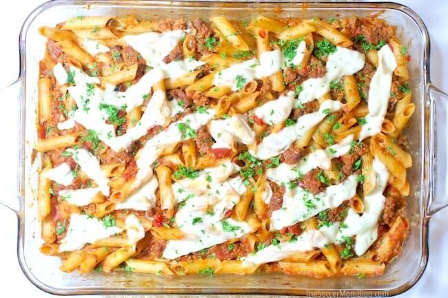 Baked ziti pasta in casserole dish