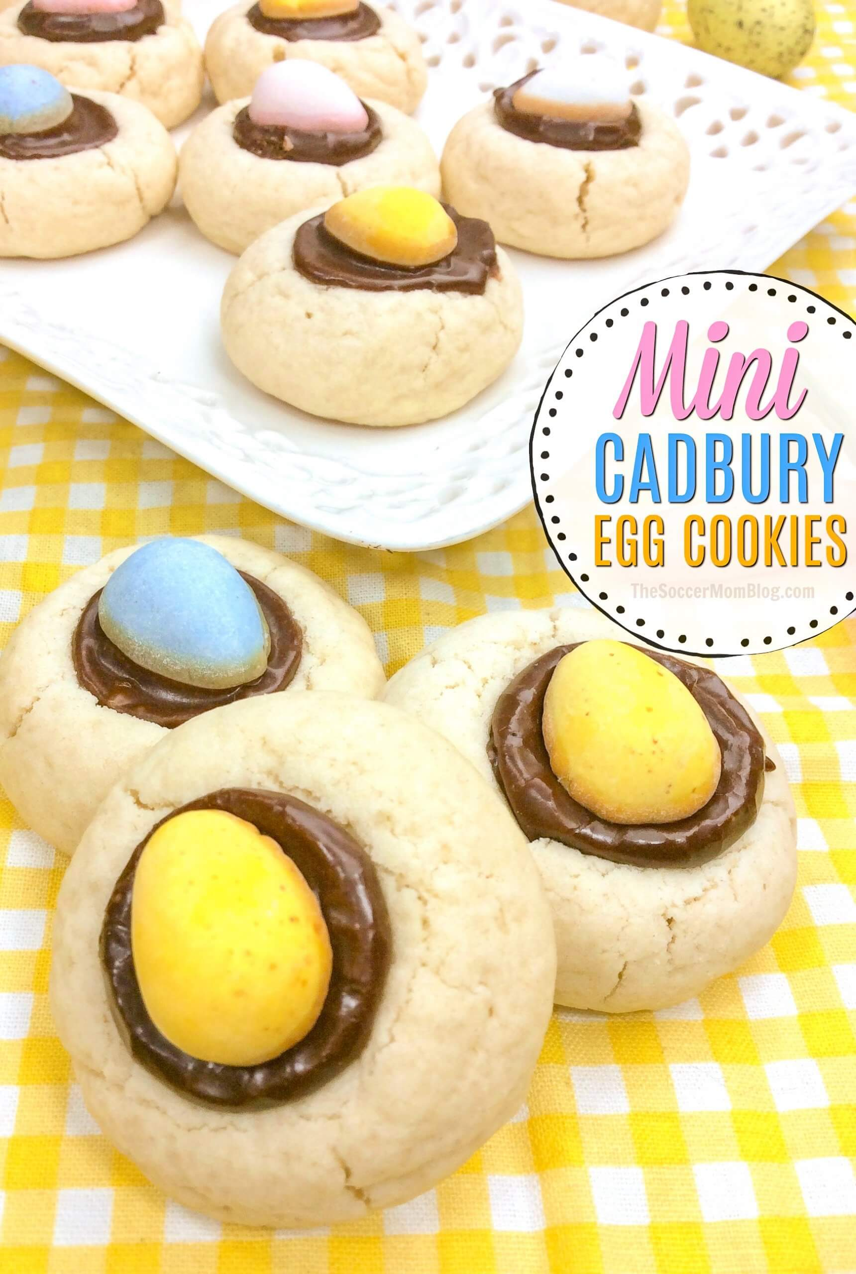 Festive and delicious! If you love those crunchy and creamy Cadbury Mini Eggs, then you'll love our Cadbury Egg Cookies! A delicious thumbprint cookie filled with rich chocolate ganache and candy treat!