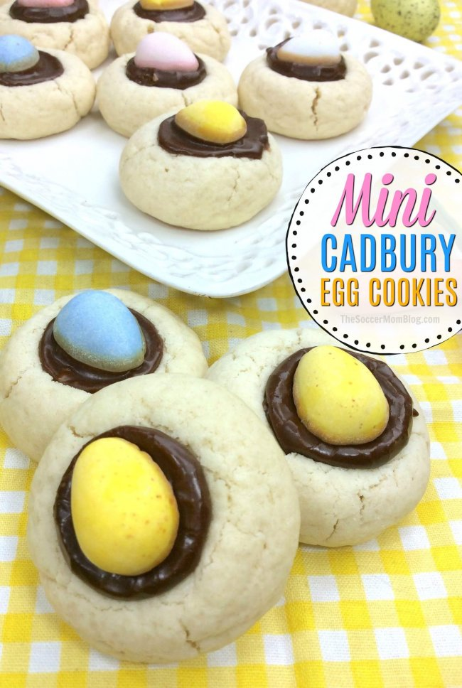 Mini Cadbury Egg Cookies are a festive thumbprint cookie just for Easter!