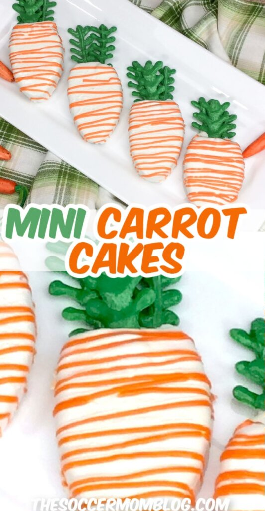 decorated carrot cakes shaped like carrots