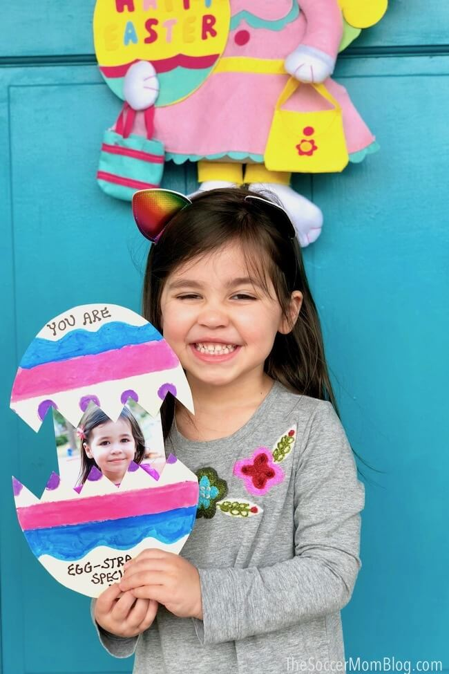 This colorful kid made pop-up Easter egg card has the cutest surprise inside! An easy kids paper craft for Spring that's perfect to make for family, friends, and teachers!