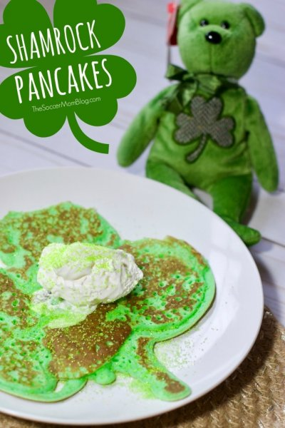 You won't believe how easy it is to make fun and festive Shamrock Pancakes for St. Patrick's Day breakfast! We'll show you the simple shortcut to making BIG 3 or 4-leaf clover shaped pancakes. Kids will LOVE them!
