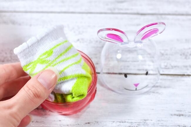 Easter eggs stuffed with baby socks
