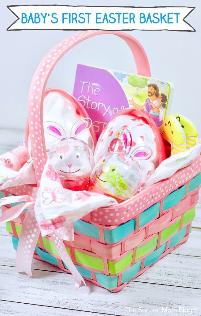 Lots of Easter basket ideas for babies that not only super cute, but useful too! This Baby Easter Basket is full of helpful goodies for a new baby and moms!