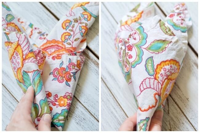 How to fold bunny shaped cloth napkins
