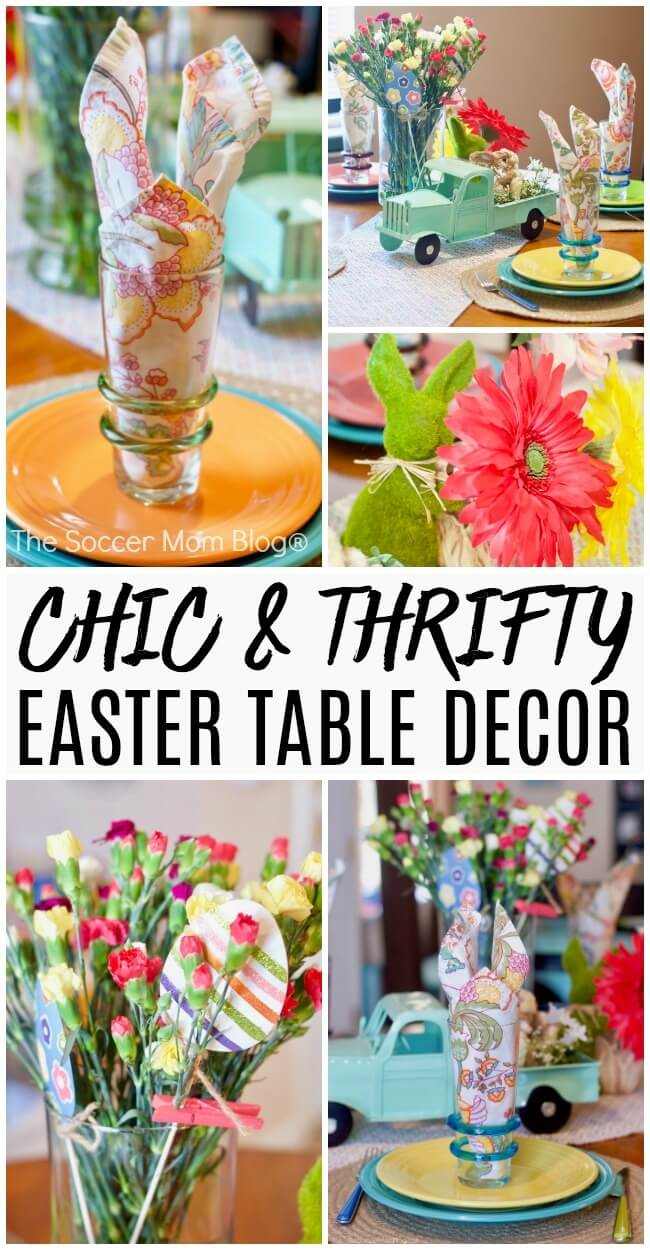 These folded bunny napkins add a whimsical touch to your Easter table - and they're easy to make! Keep reading for photo step-by-step instructions, plus more tips for creating gorgeous (and affordable) Easter decor.