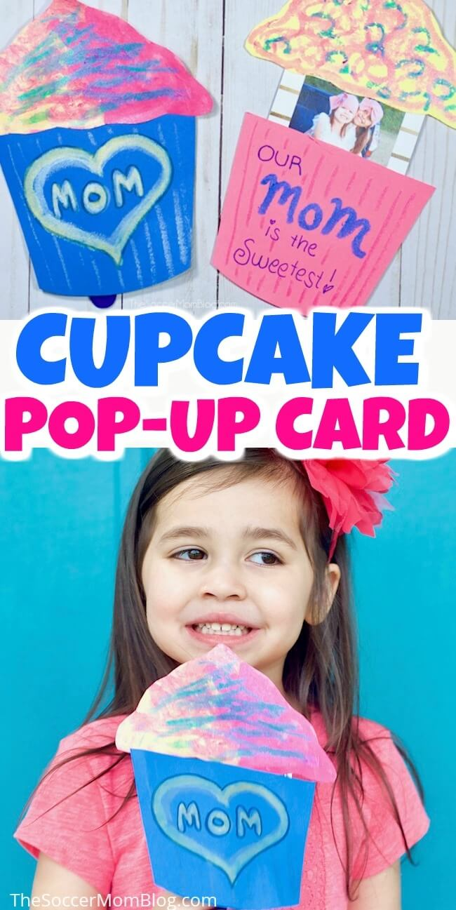 How cute is this pop-up cupcake card! It's perfect kid-made Mother's Day card - Mom will love the sweet photo surprise inside!