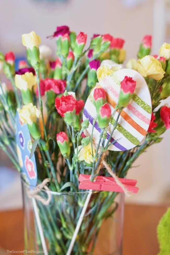 Easter flower arrangement with metal Easter eggs from JCPenney