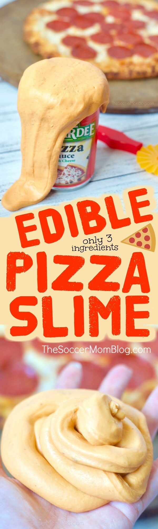 Our edible pizza slime is super stretchy and it smells like a fresh-baked pie full of sauce-y cheesy goodness. If you are a pizza fan (and most kids are, right?), then you've got to try this one!