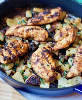 Beer Skillet Potatoes with Fire Grilled Chicken