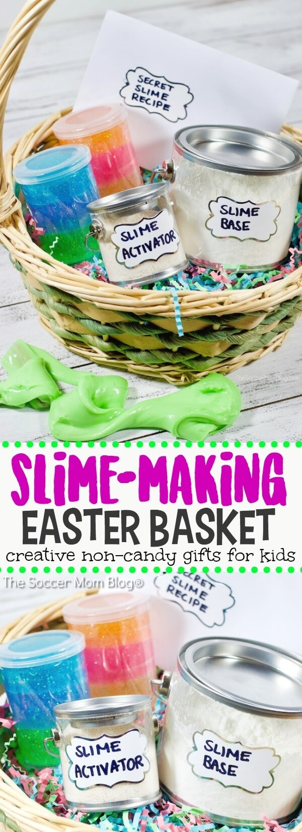 Kids won't even miss the candy with this creative and cool Slime Easter Basket! Packed with gooey-goodies and supplies to make slime at home!