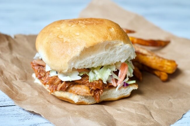 West Virginia style barbecue pork sandwich with sweet potato fries