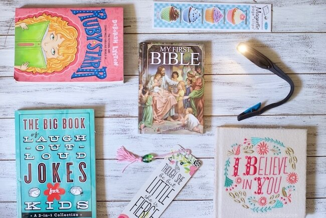 What to put in an Easter basket for young readers - books, bookmarks, reading light