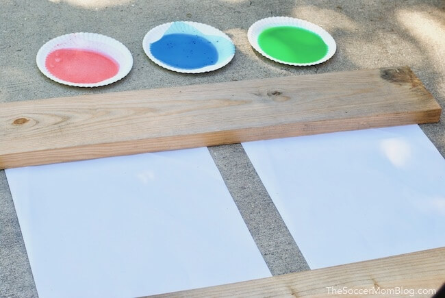 Outdoor painting with poster paper and homemade washable paint