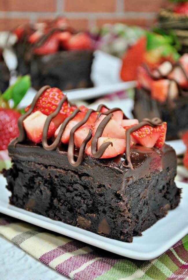brownies topped with strawberries