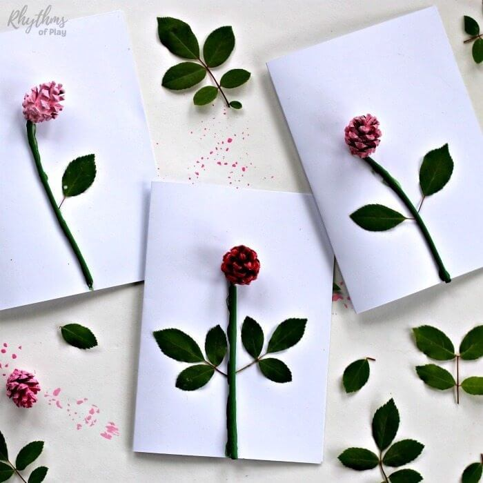 handmade mothers day card ideas made with leaves and pinecones