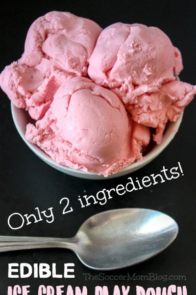 Doesn't this Strawberry Ice Cream Play Dough look just like the real thing?! You only need 2 simple ingredients to make this super soft edible play dough recipe!