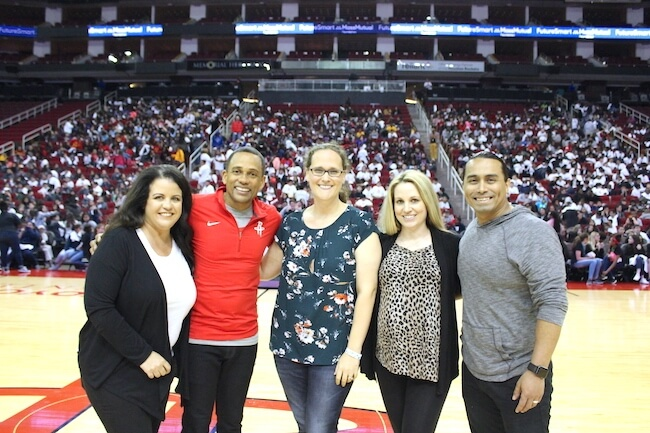 Stacey from The Soccer Mom Blog with Hill Harper at Houston FutureSmart event